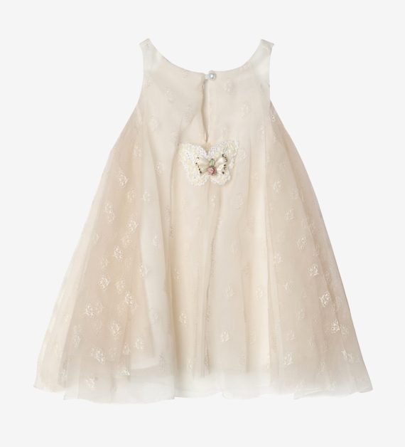 Girl's Gown with Tulle Lace in Salmon Color back